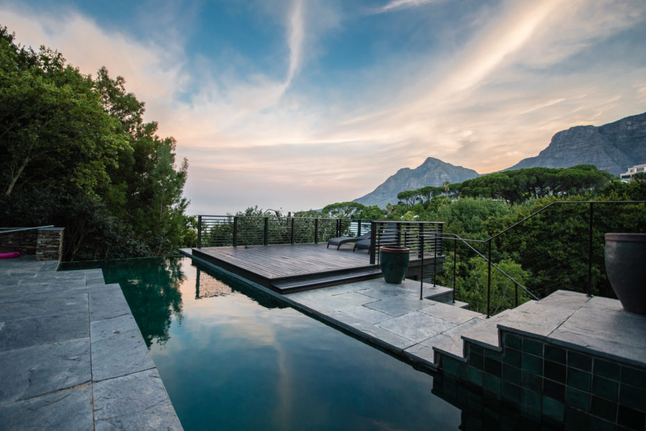 Devils Peak, Higgovale, architecture, building, mountain, sky, sunset, swimming pool