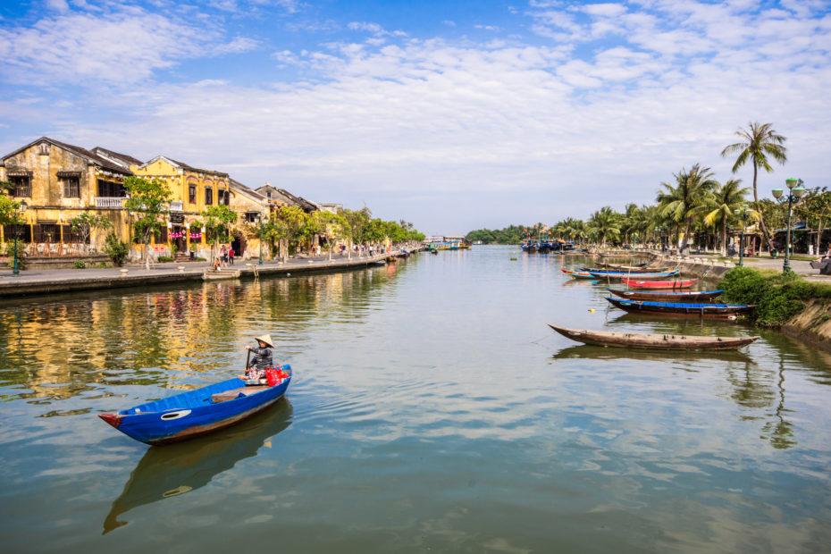 Hoi An, Vietnam, boat, building, houses, landscape, river, water